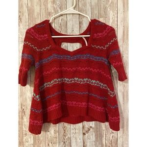 Free People Red Striped Crop Top